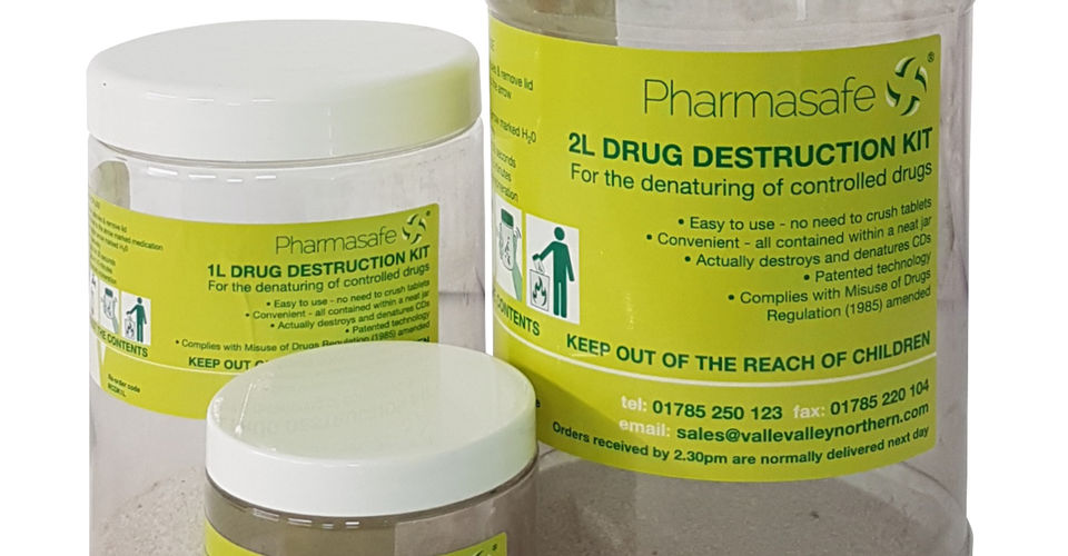 Denaturing kits to destroy unused drugs