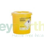 Bucket Sharps Bins - 2.5 Litre With Yellow Lid