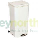 70 litre Metal Bin with White Lid - Fire Retardant